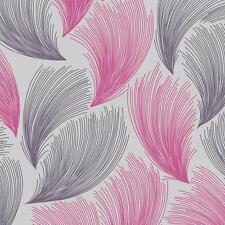 New Rasch - Gatsby Fan Feather Motif - Pink & Grey - Glittered Wallpaper 319736