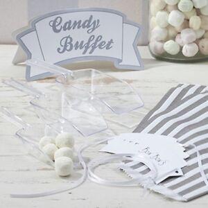 Candy Bar Set Hochzeit Weiss Silber Schild Schaufel Papiertuten
