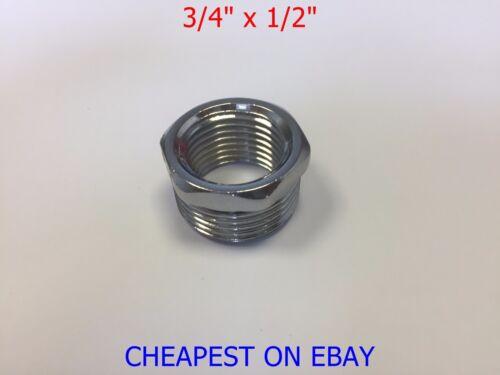 """Chrome Shower Hose Reducing Bush 3//4/"""" to 1//2/"""" BSP Chrome Plated Brass Adaptor"""