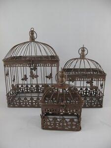 vogelk fig vintage deko eckig braun landhaus 3 teilig ebay. Black Bedroom Furniture Sets. Home Design Ideas