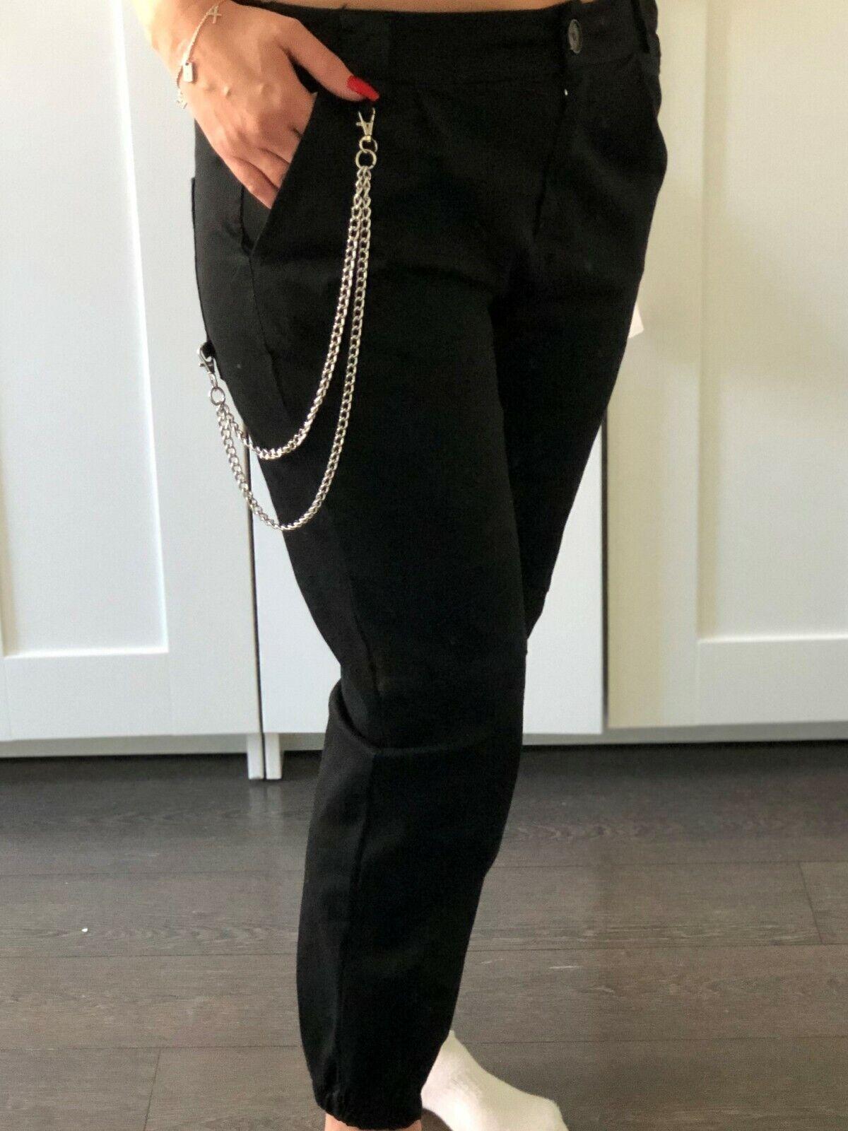 Damen Hose schwarz mit Kette Größe M Mioni NEU