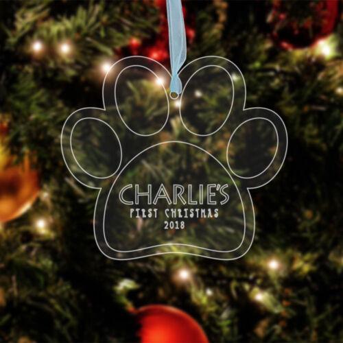 Chien Chat Animaux Babiole Personnalisée 1ST Noël Cœur Patte de Suspension Arbre Décoration