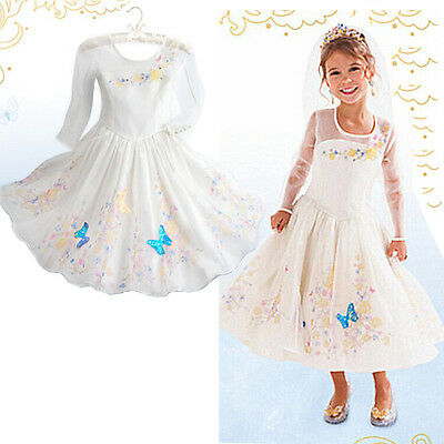 Movies Cinderella White Sandy Girl Princess Wedding Party Dress Costume 4-10Y UK