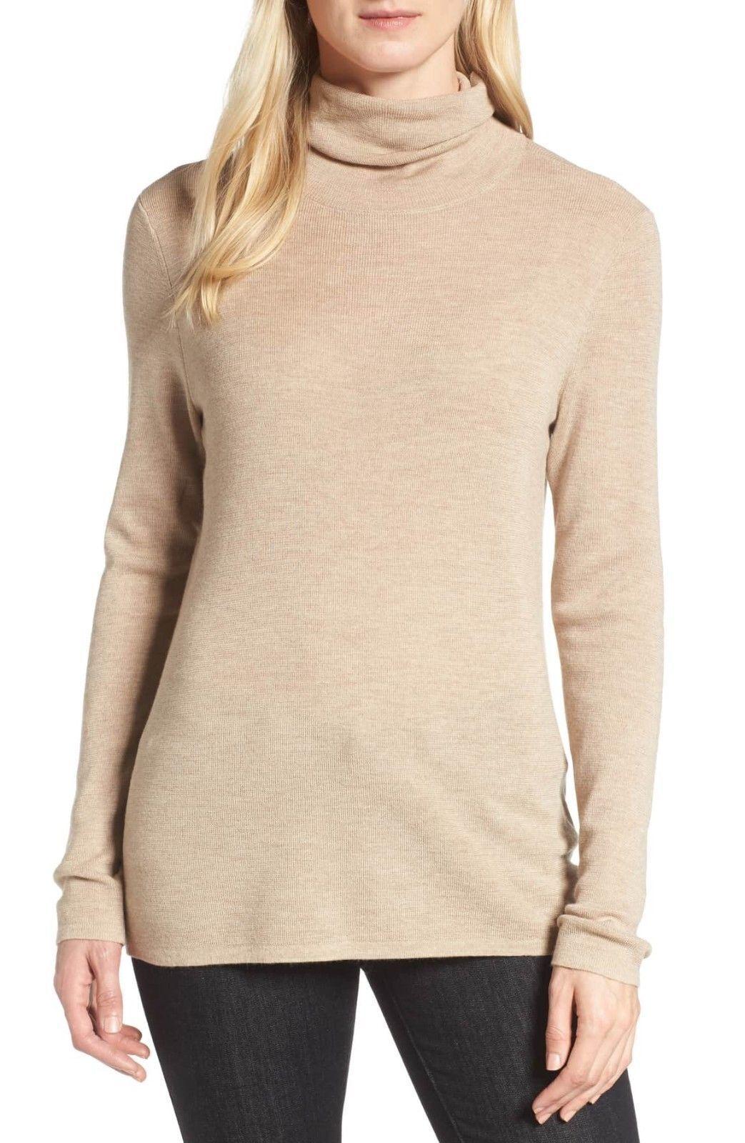 248 BNWT Eileen Fisher Italian Ultrafine Merino Rib MAPLE OAT  Sweater XL L M S