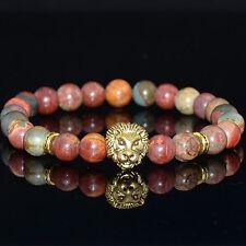 Men's Natural Picasso Jasper Gemstone Gold Lion Beaded Charm Bracelet Cheapest