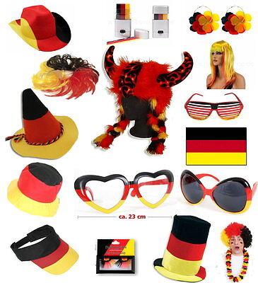 versch Deutschland Fanartikel Fan-Artikel Fußball EM WM Hut Brille Perücke Haare