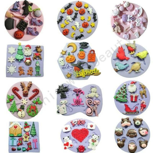 12 Multi-style Silicone Mould for Polymer Clay Candy Cake Decorating Fondant