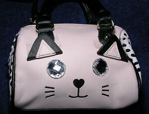 Betsey-Johnson-Mini-Satchel-Handbag-Purse-Blush-Pink-Cat-Face-Crystal-Eyes-Vegan