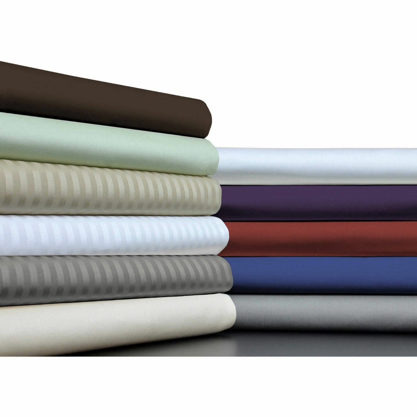 1000 TC Egyptian Cotton Fitted Sheet+2 PC Pillow Case Full Size All colors