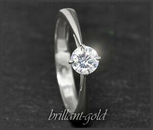 Diamant-585-Gold-Solitaer-Brillant-Ring-0-61ct-H-Si2-Damenring-14-Karat-Gold