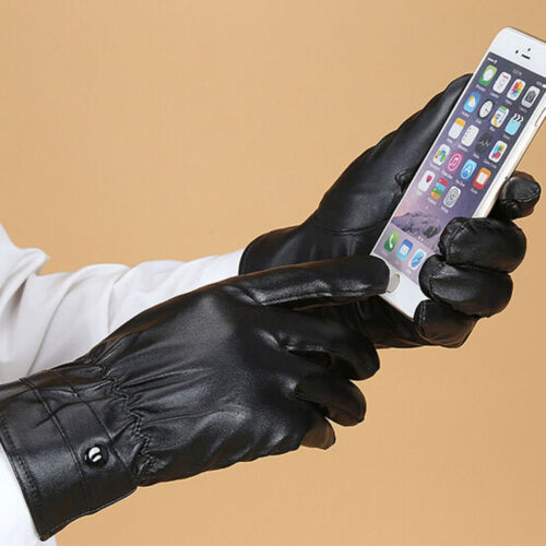 Men/'s High Quality Black Touch Screen Gloves PU Leather Gloves Winter Mittens
