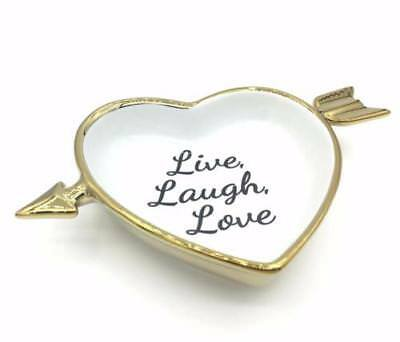 Live Laugh Laugh Large White Porcelain Heart Ring Dish Wedding Gift MM/_36916