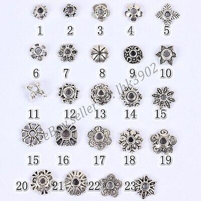 20Pcs Tibetan Silver Metal Flower Loose Spacer Beads Caps Lots 6/8/10/12/14MM