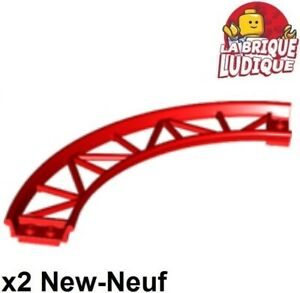 Lego-2x-train-rail-track-roller-coaster-Curve-90-degrees-virage-rouge-red-25061
