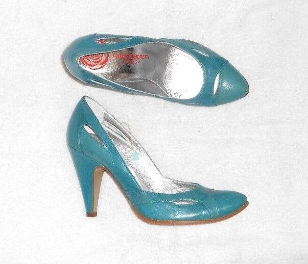 i nuovi marchi outlet online FAUSTA MORETTI escarpins cuir blu turquoise turquoise turquoise P 38 Neufs  i nuovi stili più caldi