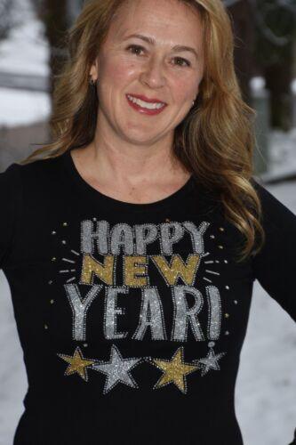 New Year/'s Eve Rhinestone /& Glitter Bling shirt XS S M L XL XXL 1X 2X 3X 4X 5X