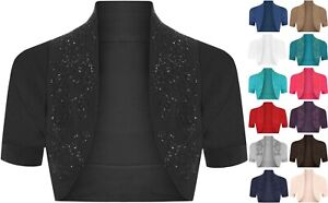 Short Cardigan UK Size 8-14 Ladies Long Sleeve Cotton Beaded Bolero Shrug