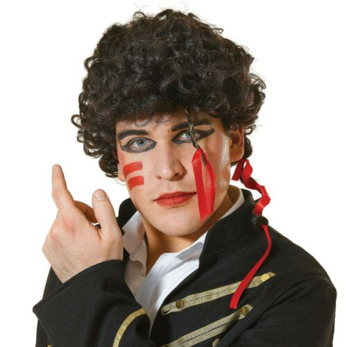 MEN/'S ADAM ANT 1980/'S NEW ROMANTIC POP STAR WIG FANCY DRESS ACCESSORY