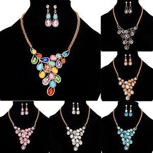 Fashion-Charm-Pendant-Chain-Crystal-Jewelry-Choker-Chunky-Statement-Bib-Necklace