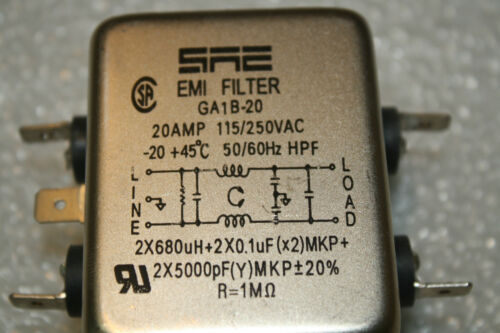 SAE EMI FILTER GA1B-20 20AMP 115//250VAC 50//60 Hz HPF