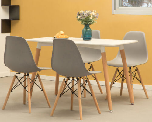 Modern Rectangular 4 Ft. Dining Table with White Top and Solid Beech Wood Legs