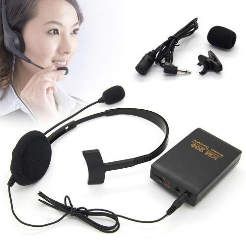 Headset + Lapel Studio Wireless Mic Microphone System FM Transmitter Receiver