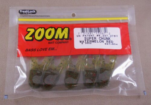 Pack Of 5 Soft Plastic ZOOM Super Chunk 3 1//2 inch Bass Walleye Fishing Lure