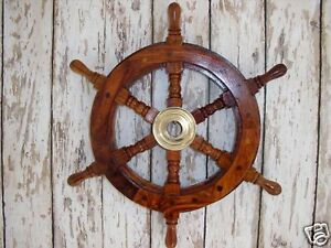 "13"" Wood / Brass Ship Wheel ~ Pirate Captain ~ Nautical Maritime Wall Decor"