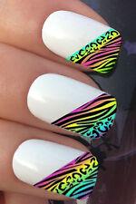 Nail Art Set #626 X10 Rainbow Leopard Fashion Spitze Wassertransfer Aufkleber