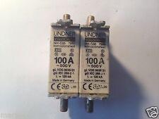 2 x LINDNER Sicherungseinsätze 100A  AC 500V gL/gG  NH 00  * NEU *