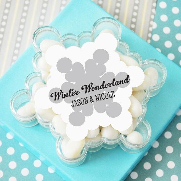 48 Personalized Acrylic Snowflake Wedding Favor Boxes