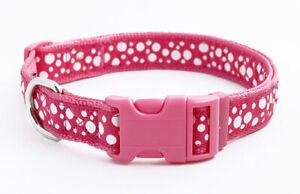 Douglas-Paquette-BUBBLES-HOT-PINK-Nylon-amp-Ribbon-Adjustable-Dog-Collar-Harness