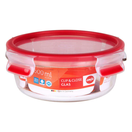Emsa Clip /& Close Frischhaltedose Frischhalte Box Dose Clipbox Glas Rot 600 ml