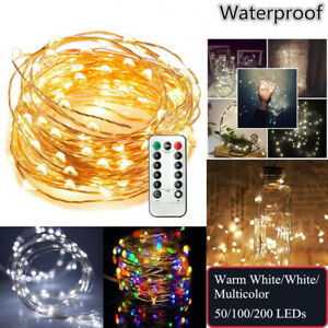 LED-String-Fairy-Hanging-Light-Copper-Wire-Wedding-Xmas-Party-W-Remote-Control