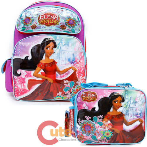 "Disney Elena Avalor 16/"" Large School Backpack Lunch Bag 2pc Book Bag Set"