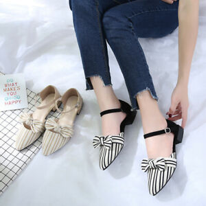 Women-039-s-Pointed-Bow-Knot-Hollow-Sandals-Buckle-Chunky-Low-Heels-Striped-Sandals