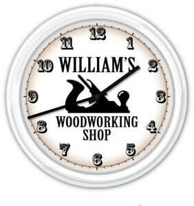 Woodworking Personalized Wall Clock Carpenter Wood Shop