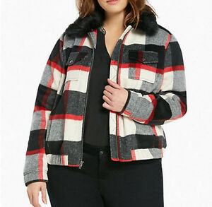 6dca5646633 Torrid Size 1 Plaid Wool Bomber Jacket Coat Faux Removable Fur ...