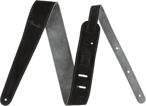"Black//Gray Genuine Fender 2/"" Wide Suede Guitar Strap Reversible"