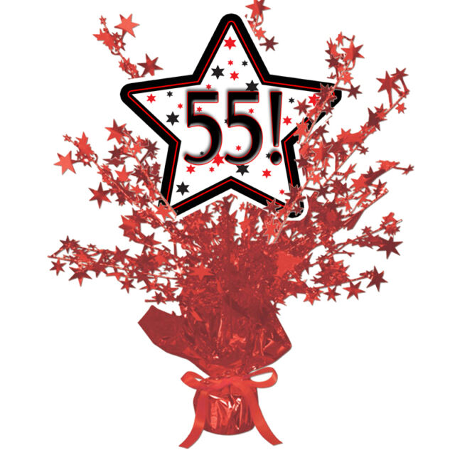 55th Birthday Age 55 Party Supplies RED STAR CENTERPIECE BALLOON WEIGHT