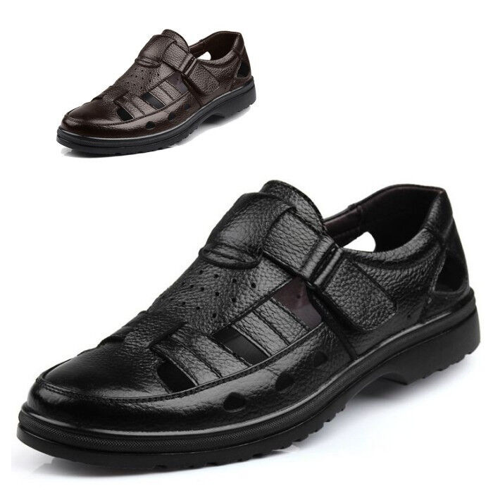 Mens Wedge Heel Casual Faux Leather Summer Sand Shoes Comfort Sandals Closed Toe Shoes Sand 31b1c4
