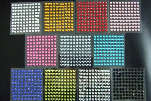 selbstklebende Schmucksteine// Glitzersteine Herzen 6 x 6 mm verschiedene Farben