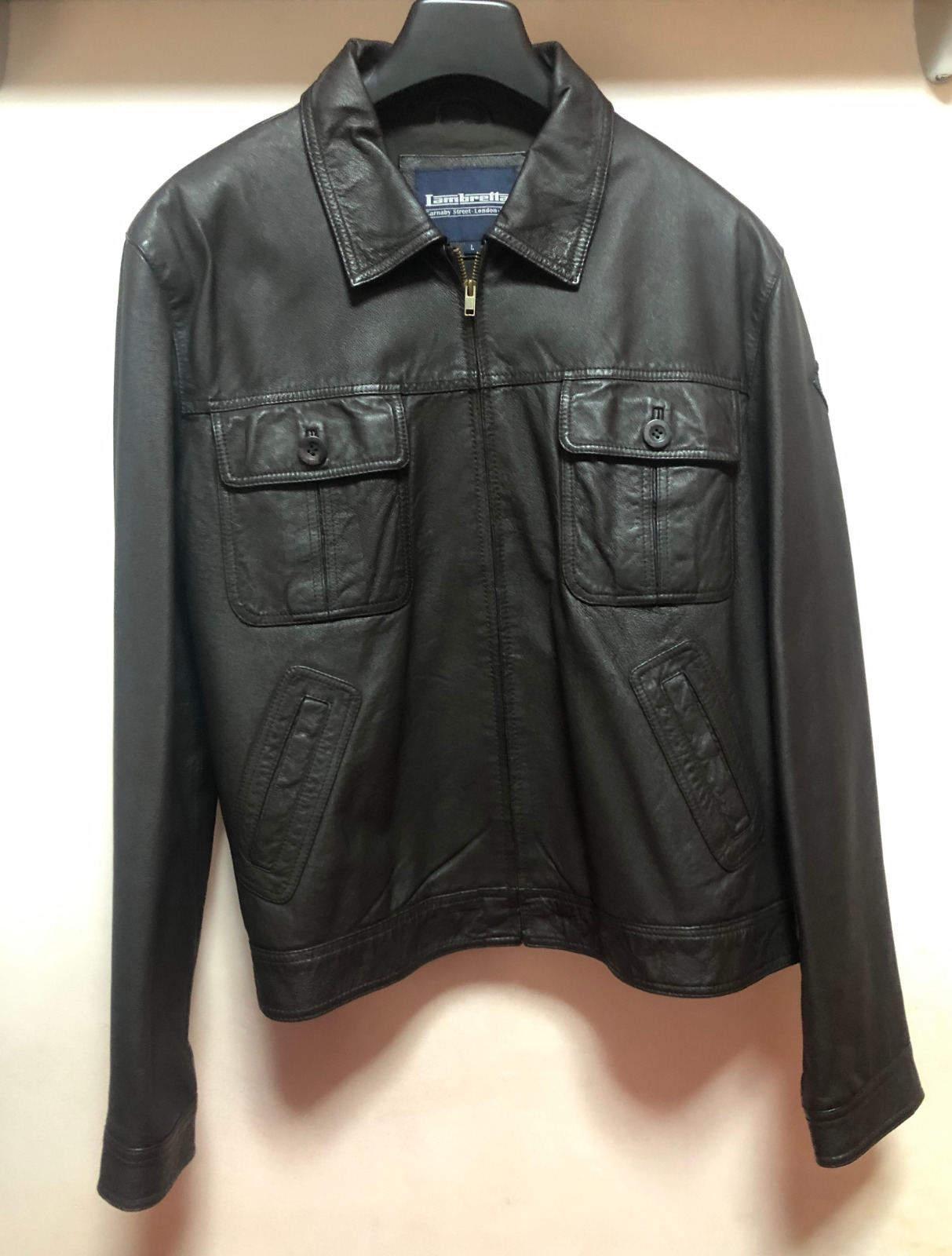 Lambretta Leather Biker Jacket Chaqueta Cazadora Cuero Moto