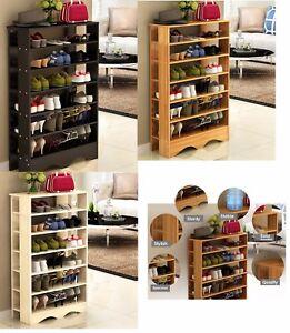Image Is Loading Wooden 6 Tier Level Shoe Shelf Cabinet Rack
