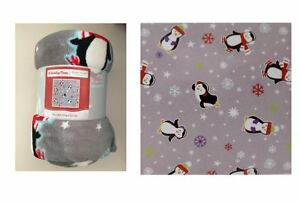 Holiday Time Plush Throw Christmas Grey Penguins 50 x 60 inches Blanket