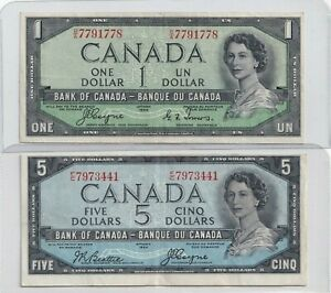 1954-1-and-5-Devil-039-s-Face-Bank-of-Canada-Notes
