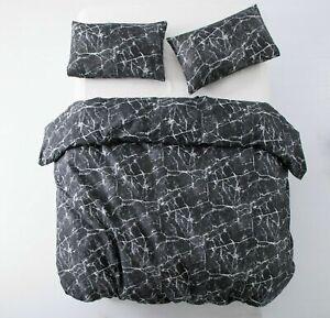 Cubierta-Negra-Quilt-Duvet-del-lecho-del-conjunto-fundas-de-almohada-Tamano-Individual-Doble-King