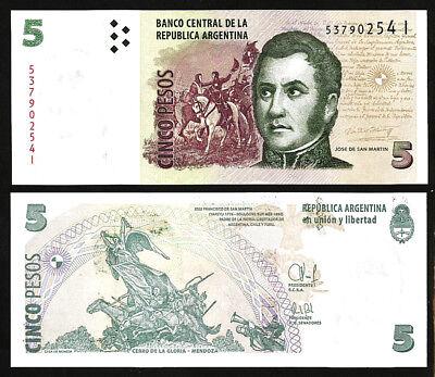Argentina 5 Pesos 10 Pcs LOT Prefix G P-353 Jose de San Martin UNC 2012