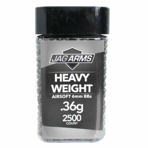 JAG Arms 2500rd Heavy Weight Seamless Double Polished .36g 6mm Airsoft BBs Black