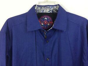 Robert-Graham-Men-long-sleeve-dress-shirt-Size-Lg-contrast-cuff-amp-collar-blue